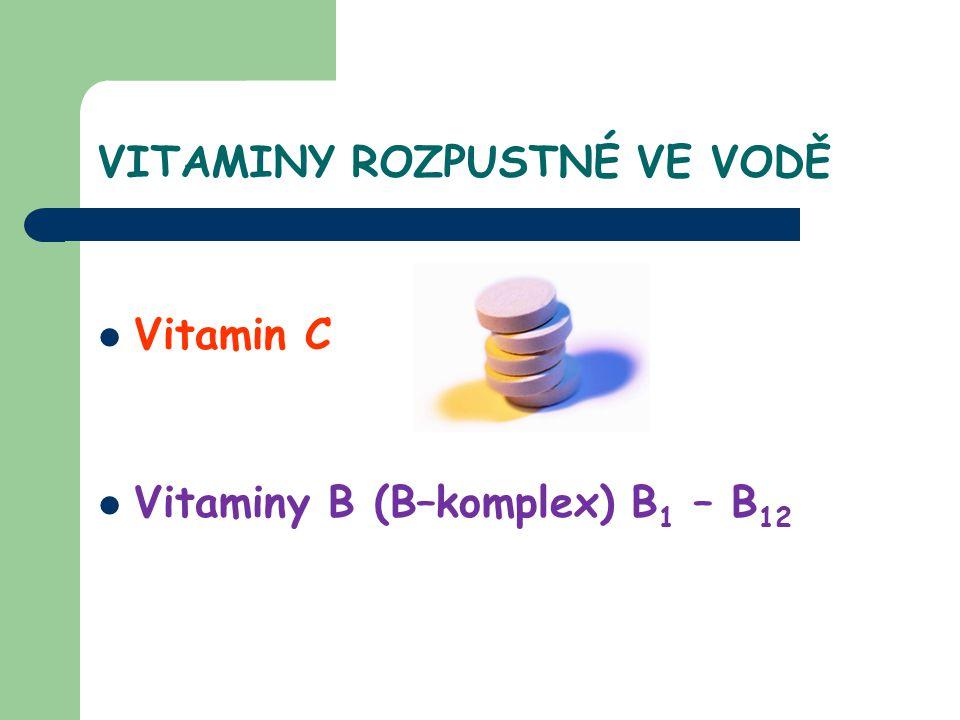 VITAMIN C kyselina askorbová VLASTNOSTI bílá, krystalická látka, má kyselou chuť, nestabilní látka (působením vysoké i nízké teploty nebo některých kovů – Fe, Al, Cu se ničí) VÝZNAM - důležitý pro tvorbu kolagenu - posiluje imunitu - urychluje hojení ran - antioxidant