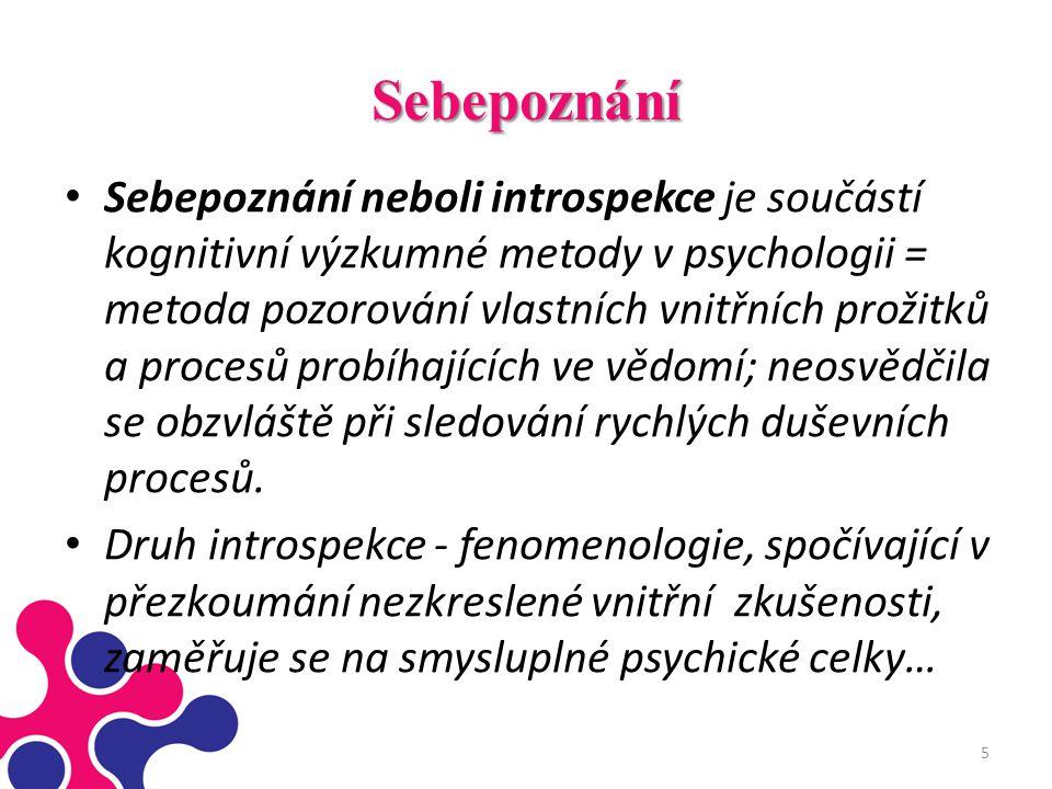 Sebepoznání Sebepoznání neboli introspekce je součástí kognitivní výzkumné metody v psychologii = metoda pozorování vlastních vnitřních prožitků a pro