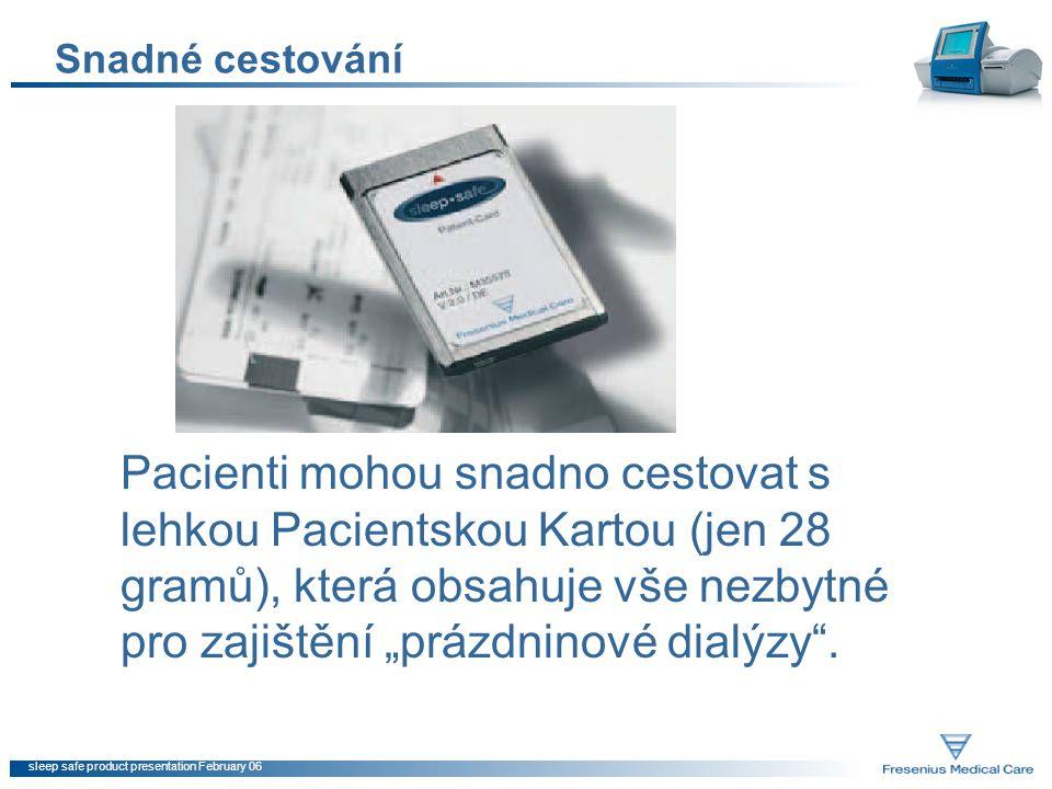 sleep safe product presentation February 06 Snadné cestování Pacienti mohou snadno cestovat s lehkou Pacientskou Kartou (jen 28 gramů), která obsahuje