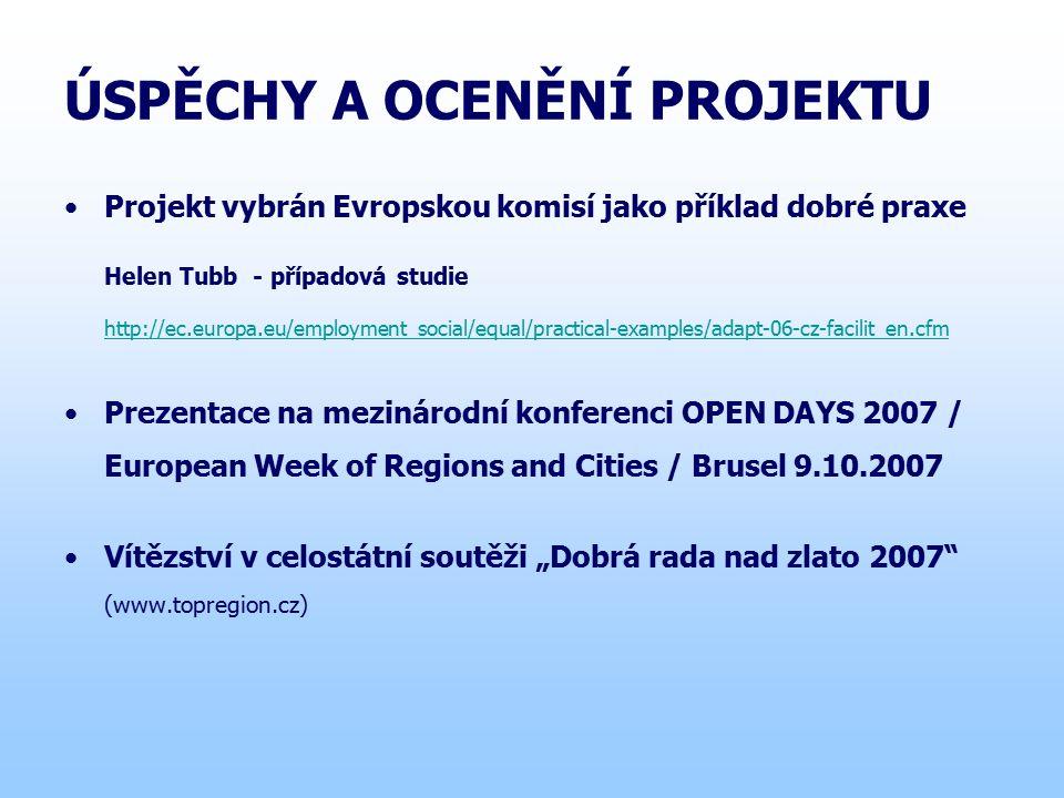 """ÚSPĚCHY A OCENĚNÍ PROJEKTU Projekt vybrán Evropskou komisí jako příklad dobré praxe Helen Tubb - případová studie http://ec.europa.eu/employment_social/equal/practical-examples/adapt-06-cz-facilit_en.cfm Prezentace na mezinárodní konferenci OPEN DAYS 2007 / European Week of Regions and Cities / Brusel 9.10.2007 Vítězství v celostátní soutěži """"Dobrá rada nad zlato 2007 (www.topregion.cz)"""