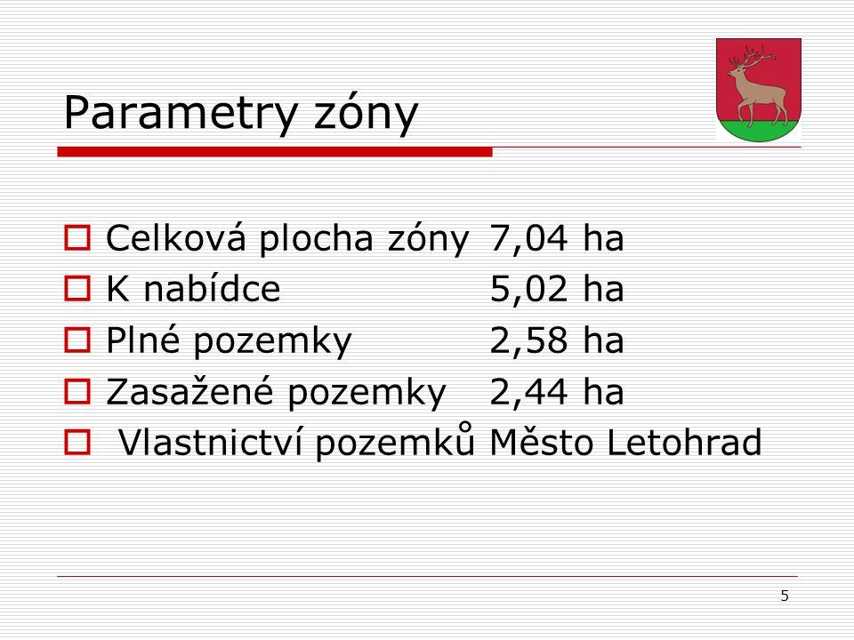 5 Parametry zóny  Celková plocha zóny 7,04 ha  K nabídce5,02 ha  Plné pozemky2,58 ha  Zasažené pozemky2,44 ha  Vlastnictví pozemkůMěsto Letohrad