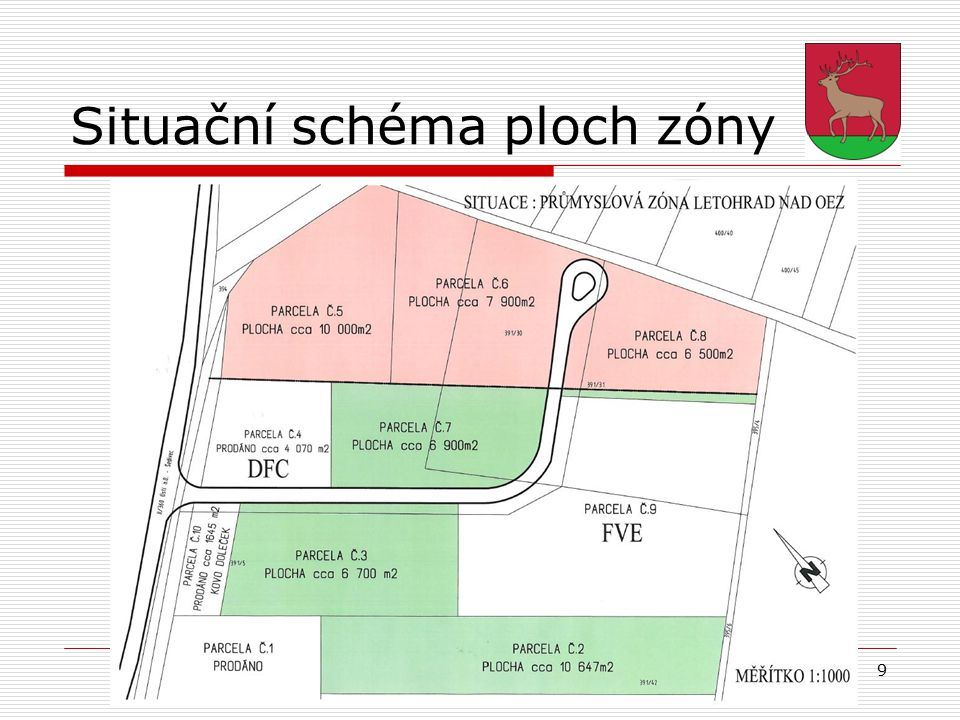 9 Situační schéma ploch zóny