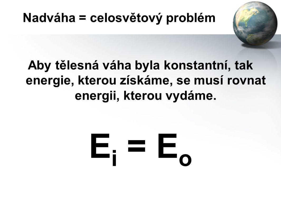 Nadváha = celosvětový problém PODSTATA PROBLÉMU = ZÁKON ROVNOVÁHY ENERGIE