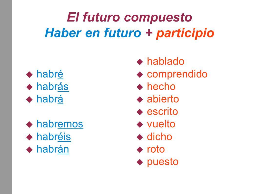El futuro compuesto Haber en futuro + participio  habré  habrás  habrá  habremos  habréis  habrán  hablado  comprendido  hecho  abierto  es