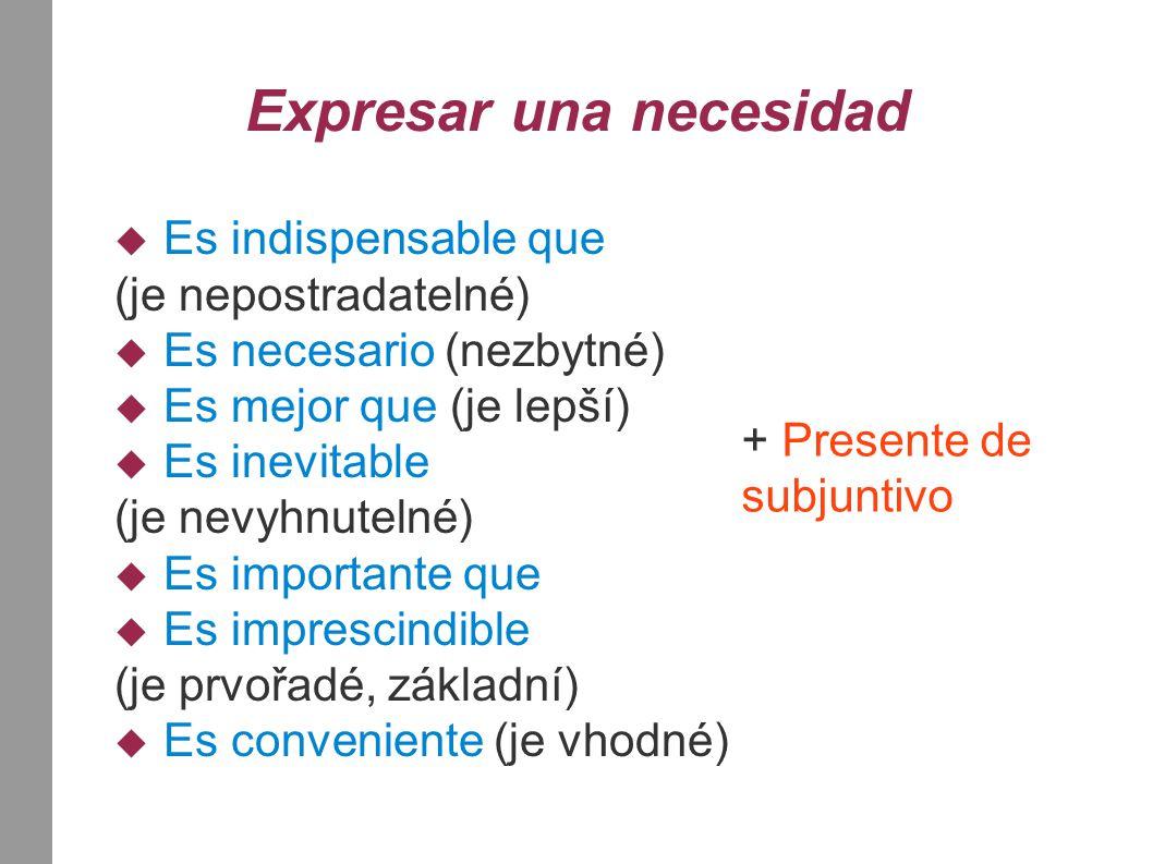 Expresar una necesidad  Es indispensable que (je nepostradatelné)  Es necesario (nezbytné)  Es mejor que (je lepší)  Es inevitable (je nevyhnuteln