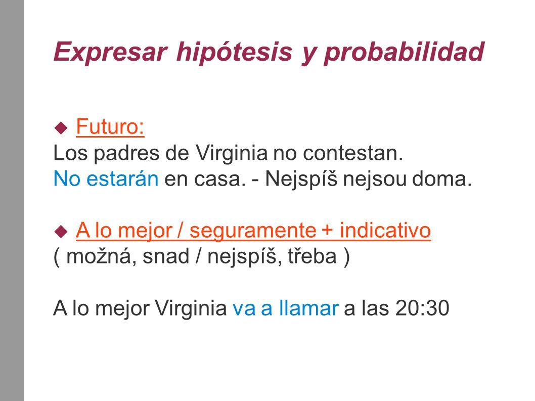 Expresar hipótesis y probabilidad  Futuro: Los padres de Virginia no contestan. No estarán en casa. - Nejspíš nejsou doma.  A lo mejor / seguramente