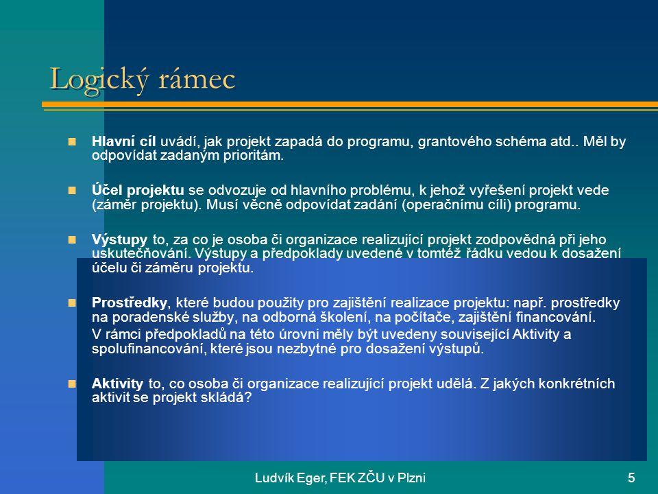 Ludvík Eger, FEK ZČU v Plzni6 Logický rámec Ověřitelné ukazatele Členíme je na: ukazatele, vstupů, účelu, výstupů a dopadu projektu.