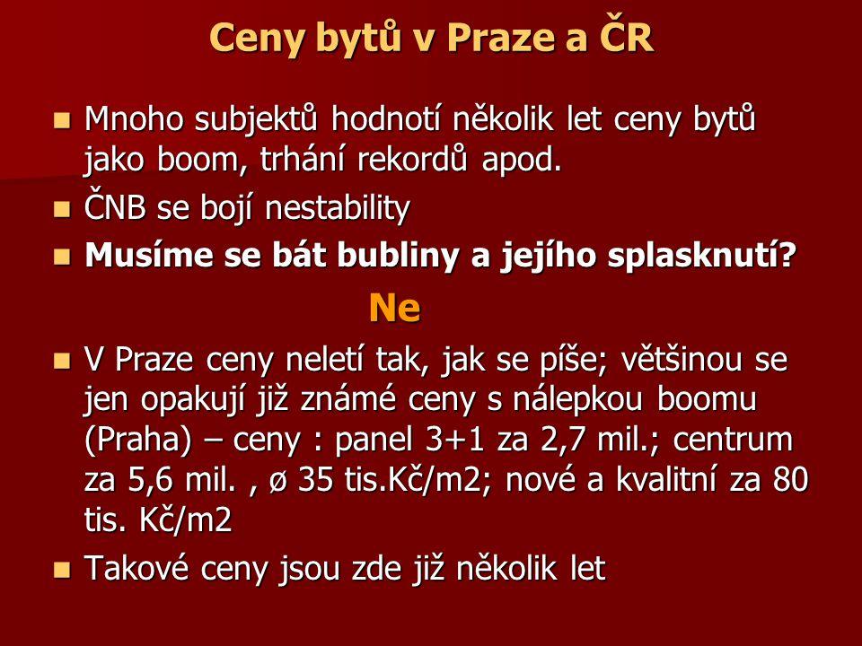 Ceny bytů v Praze a ČR Mnoho subjektů hodnotí několik let ceny bytů jako boom, trhání rekordů apod.