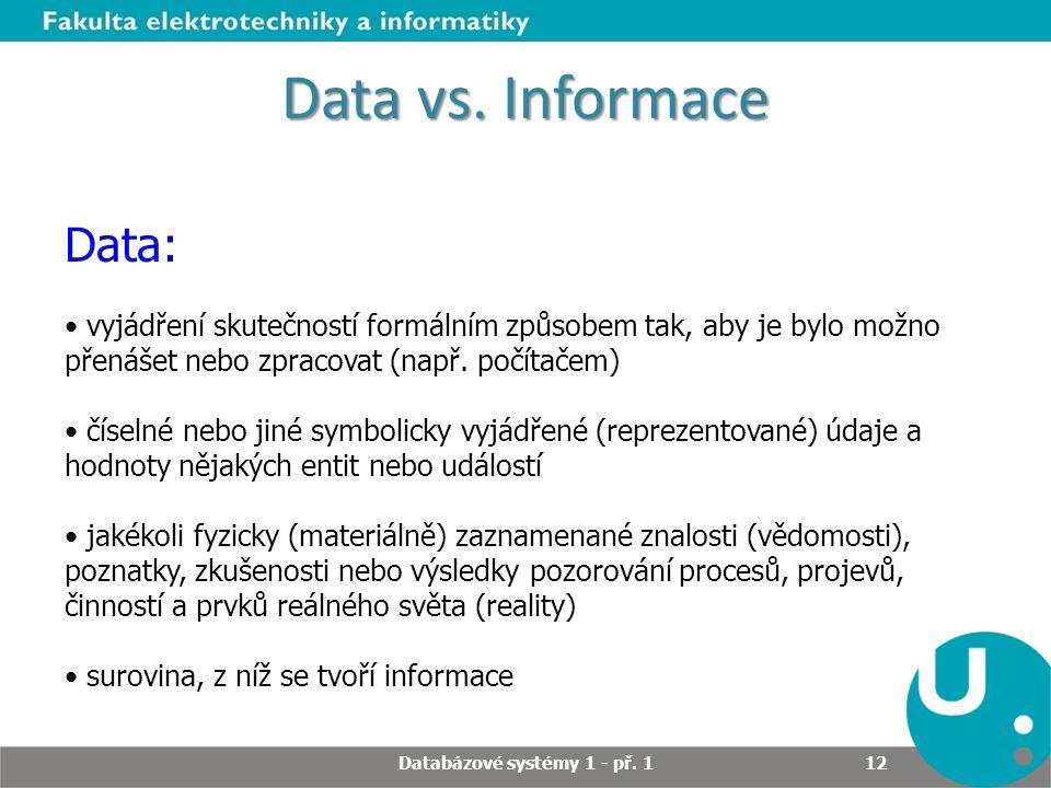 Data vs. Informace Data: vyjádření skutečností formálním způsobem tak, aby je bylo možno přenášet nebo zpracovat (např. počítačem) číselné nebo jiné s