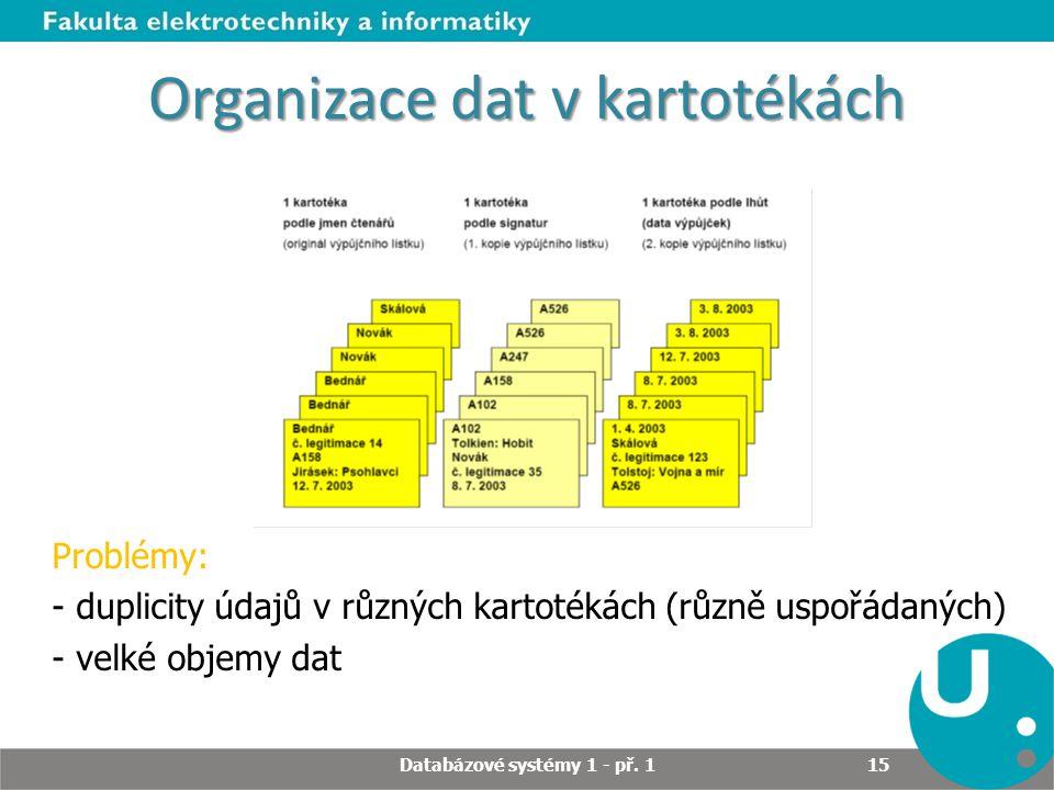 Organizace dat v kartotékách Problémy: - duplicity údajů v různých kartotékách (různě uspořádaných) - velké objemy dat Databázové systémy 1 - př. 1 15