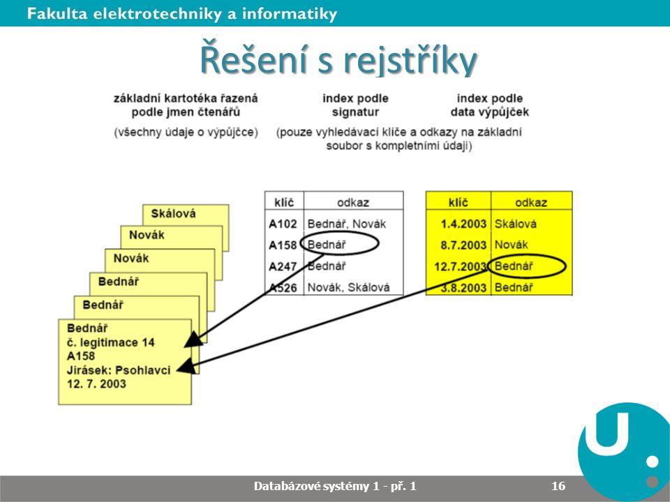 Řešení s rejstříky Databázové systémy 1 - př. 1 16