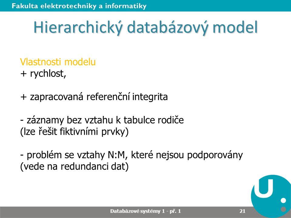 Hierarchický databázový model Vlastnosti modelu + rychlost, + zapracovaná referenční integrita - záznamy bez vztahu k tabulce rodiče (lze řešit fiktiv