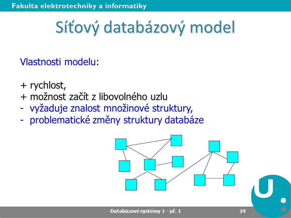 Síťový databázový model Vlastnosti modelu: + rychlost, + možnost začít z libovolného uzlu - vyžaduje znalost množinové struktury, - problematické změn