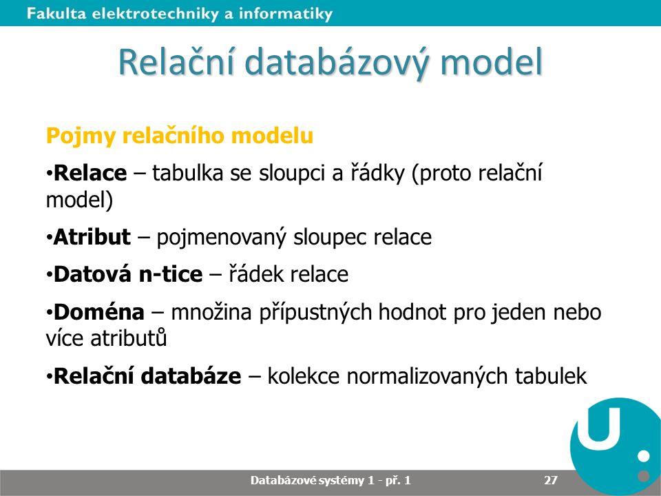 Relační databázový model Pojmy relačního modelu Relace – tabulka se sloupci a řádky (proto relační model) Atribut – pojmenovaný sloupec relace Datová