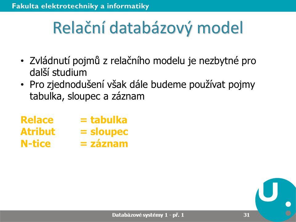 Relační databázový model Zvládnutí pojmů z relačního modelu je nezbytné pro další studium Pro zjednodušení však dále budeme používat pojmy tabulka, sl