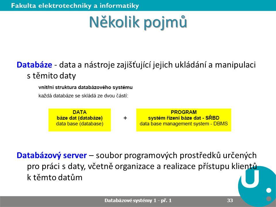 Několik pojmů Databáze - data a nástroje zajišťující jejich ukládání a manipulaci s těmito daty Databázový server – soubor programových prostředků urč