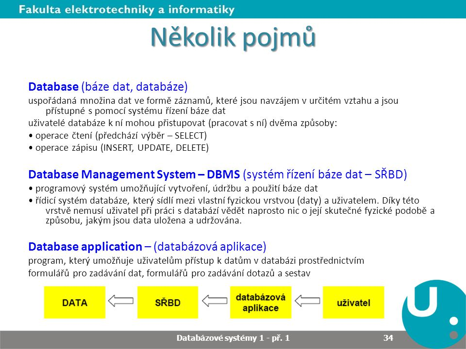 Několik pojmů Database (báze dat, databáze) uspořádaná množina dat ve formě záznamů, které jsou navzájem v určitém vztahu a jsou přístupné s pomocí sy