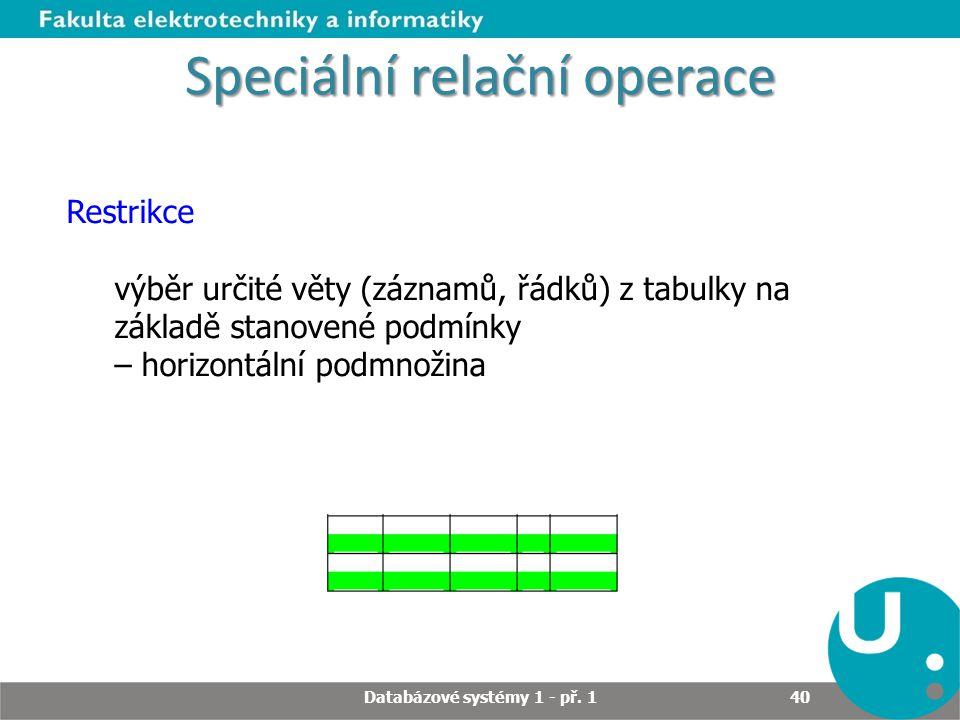 Speciální relační operace Restrikce výběr určité věty (záznamů, řádků) z tabulky na základě stanovené podmínky – horizontální podmnožina Databázové sy