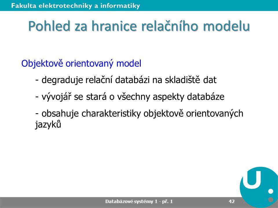 Pohled za hranice relačního modelu Objektově orientovaný model - degraduje relační databázi na skladiště dat - vývojář se stará o všechny aspekty data