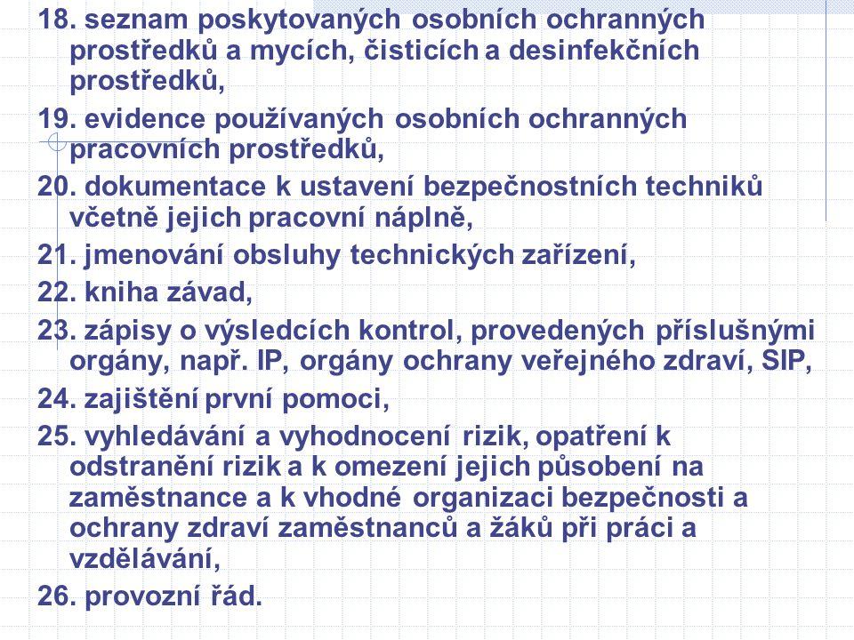 18. seznam poskytovaných osobních ochranných prostředků a mycích, čisticích a desinfekčních prostředků, 19. evidence používaných osobních ochranných p