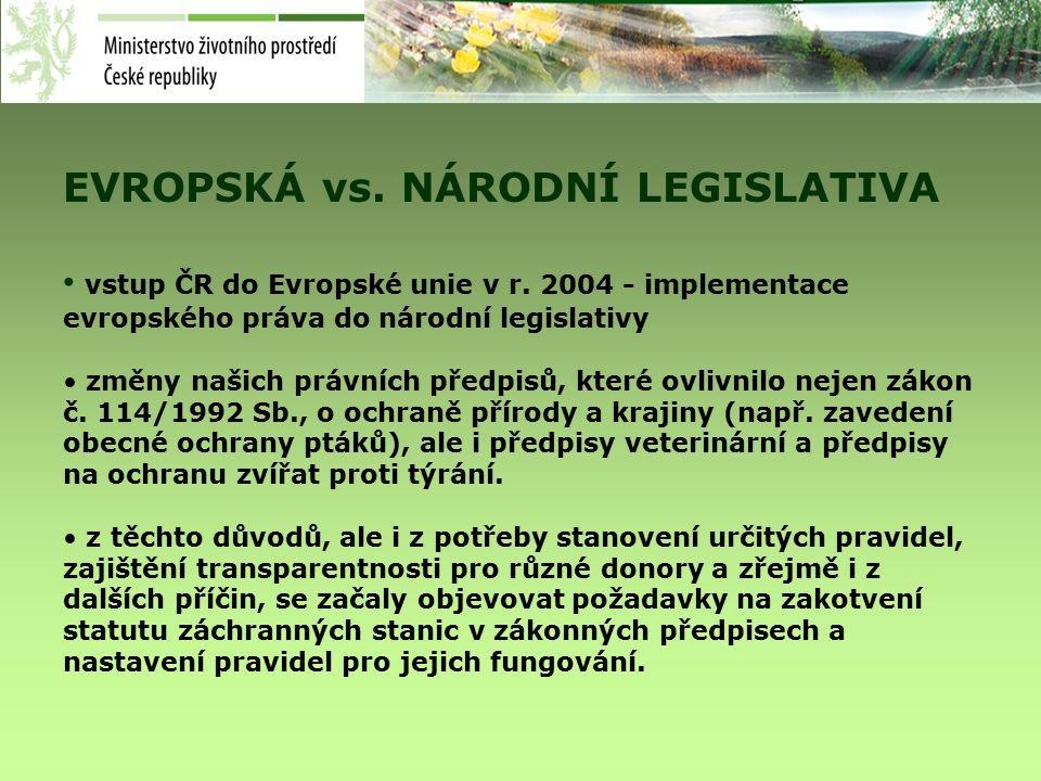 EVROPSKÁ vs. NÁRODNÍ LEGISLATIVA vstup ČR do Evropské unie v r.