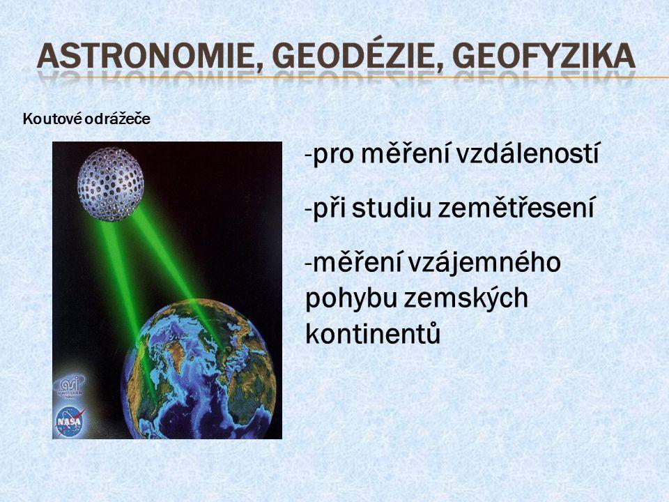 Koutové odrážeče -pro měření vzdáleností -při studiu zemětřesení -měření vzájemného pohybu zemských kontinentů