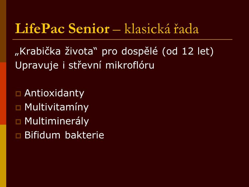 """LifePac Senior – klasická řada """"Krabička života"""" pro dospělé (od 12 let) Upravuje i střevní mikroflóru  Antioxidanty  Multivitamíny  Multiminerály"""