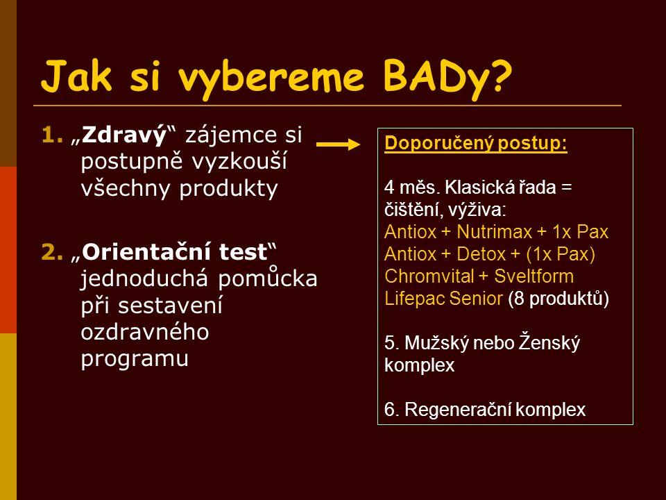 """Jak si vybereme BADy? 1. """"Zdravý"""" zájemce si postupně vyzkouší všechny produkty 2. """"Orientační test"""" jednoduchá pomůcka při sestavení ozdravného progr"""