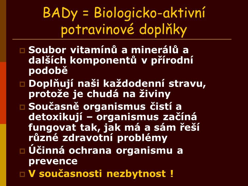 BADy = Biologicko-aktivní potravinové doplňky  Soubor vitamínů a minerálů a dalších komponentů v přírodní podobě  Doplňují naši každodenní stravu, p