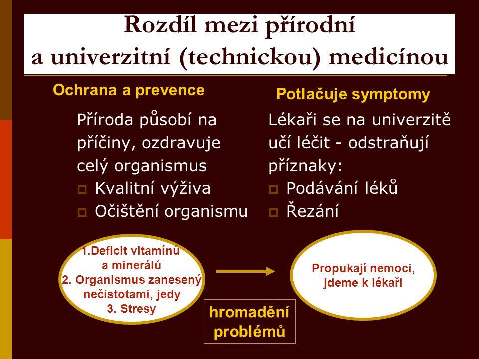 Rozdíl mezi přírodní a univerzitní (technickou) medicínou Příroda působí na příčiny, ozdravuje celý organismus  Kvalitní výživa  Očištění organismu
