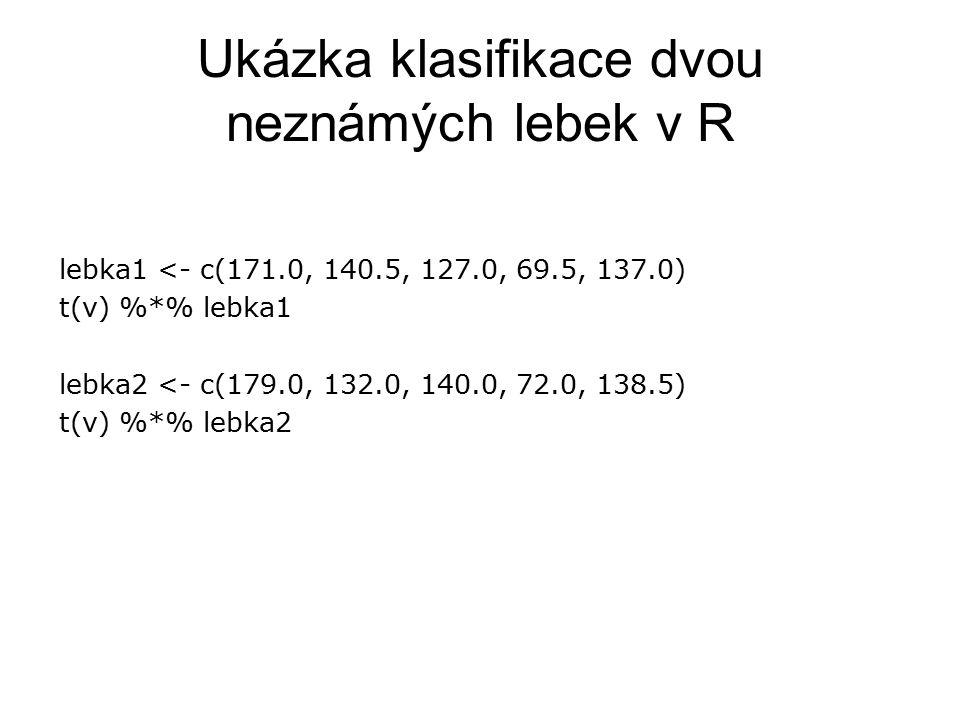 Ukázka klasifikace dvou neznámých lebek v R lebka1 <- c(171.0, 140.5, 127.0, 69.5, 137.0) t(v) %*% lebka1 lebka2 <- c(179.0, 132.0, 140.0, 72.0, 138.5