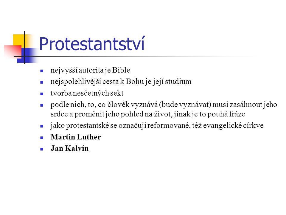 Protestantství nejvyšší autorita je Bible nejspolehlivější cesta k Bohu je její studium tvorba nesčetných sekt podle nich, to, co člověk vyznává (bude vyznávat) musí zasáhnout jeho srdce a proměnit jeho pohled na život, jinak je to pouhá fráze jako protestantské se označují reformované, též evangelické církve Martin Luther Jan Kalvín