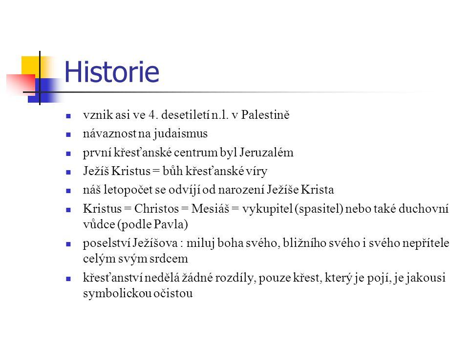 Historie vznik asi ve 4.desetiletí n.l.