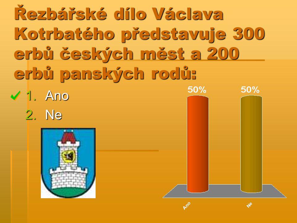Řezbářské dílo Václava Kotrbatého představuje 300 erbů českých měst a 200 erbů panských rodů: 1.Ano 2.Ne