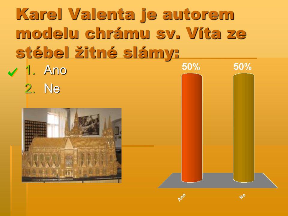 Karel Valenta je autorem modelu chrámu sv. Víta ze stébel žitné slámy: 1.Ano 2.Ne