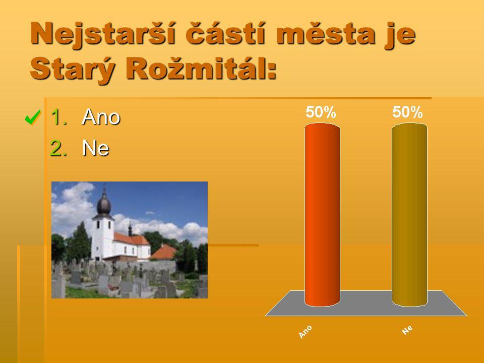 Nejstarší částí města je Starý Rožmitál: 1.Ano 2.Ne