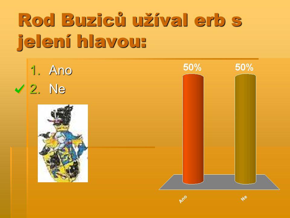 Rod Buziců užíval erb s jelení hlavou: 1.Ano 2.Ne