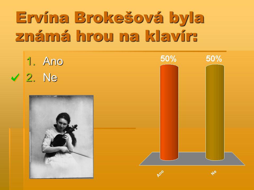 Ervína Brokešová byla známá hrou na klavír: 1.Ano 2.Ne