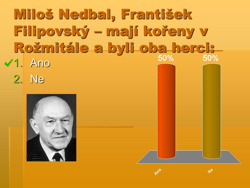 Miloš Nedbal, František Filipovský – mají kořeny v Rožmitále a byli oba herci: 1.Ano 2.Ne