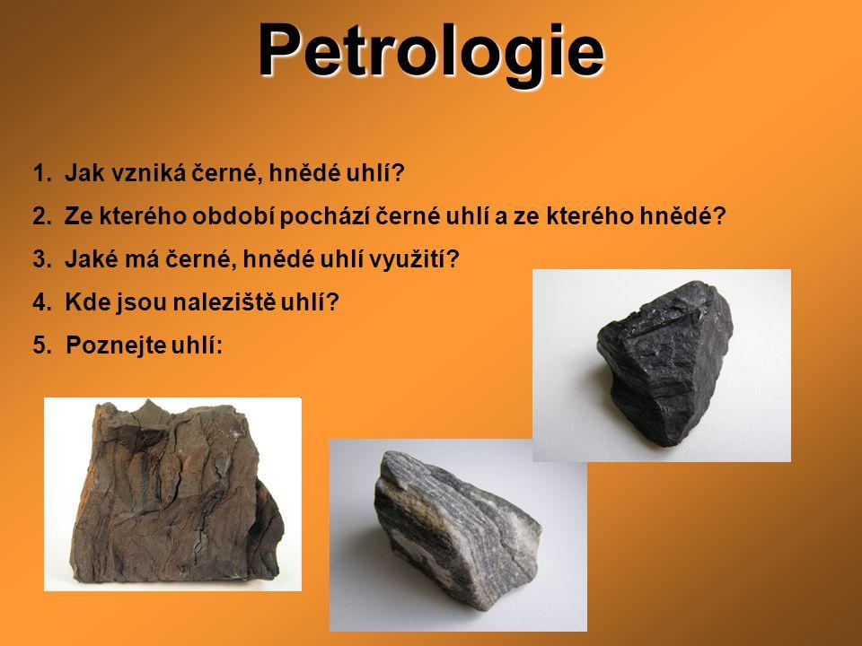 Petrologie 1.Jak vzniká černé, hnědé uhlí? 2.Ze kterého období pochází černé uhlí a ze kterého hnědé? 3.Jaké má černé, hnědé uhlí využití? 4.Kde jsou