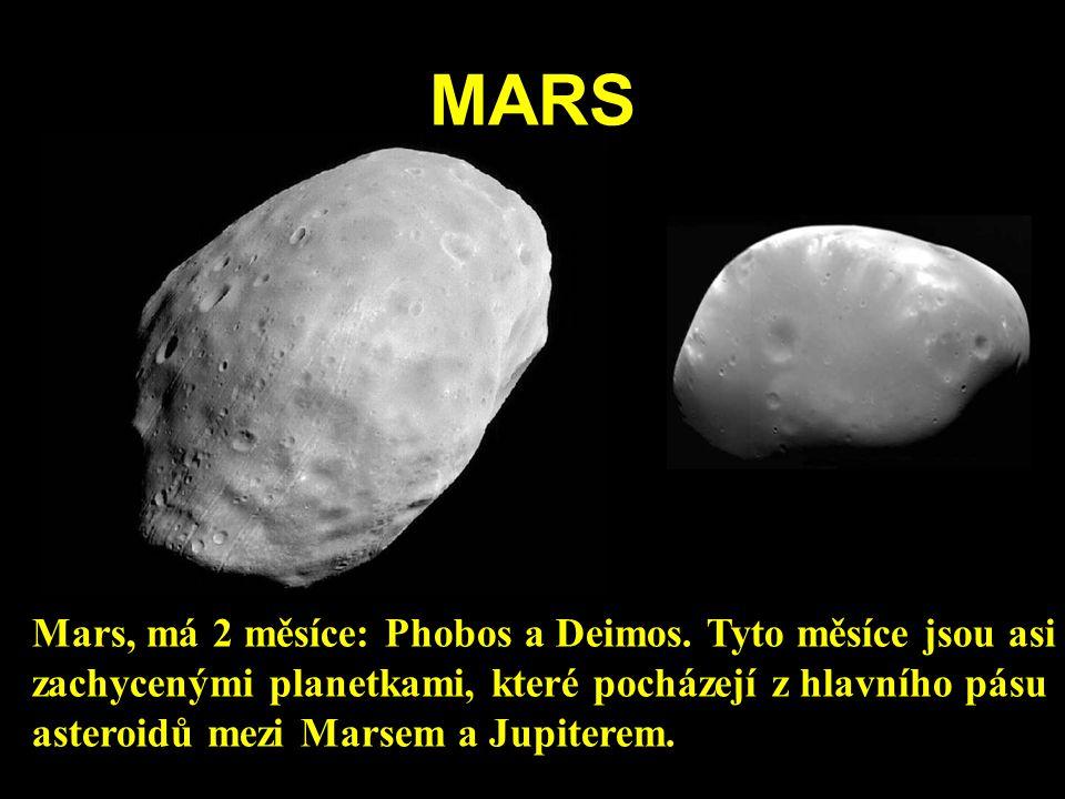 MARS Mars, má 2 měsíce: Phobos a Deimos. Tyto měsíce jsou asi zachycenými planetkami, které pocházejí z hlavního pásu asteroidů mezi Marsem a Jupitere