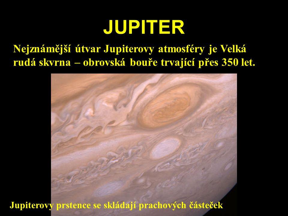 JUPITER Nejznámější útvar Jupiterovy atmosféry je Velká rudá skvrna – obrovská bouře trvající přes 350 let. Jupiterovy prstence se skládají prachových