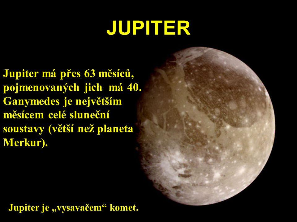 JUPITER Jupiter má přes 63 měsíců, pojmenovaných jich má 40. Ganymedes je největším měsícem celé sluneční soustavy (větší než planeta Merkur). Jupiter