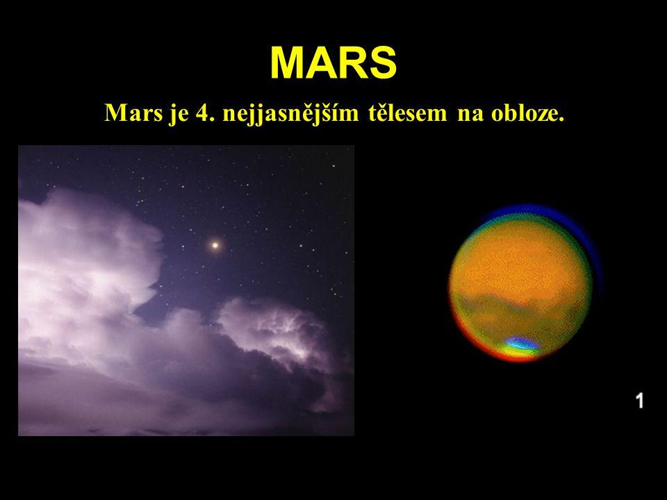 MARS Mars je 4. nejjasnějším tělesem na obloze.