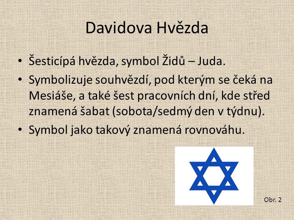 Davidova Hvězda Šesticípá hvězda, symbol Židů – Juda. Symbolizuje souhvězdí, pod kterým se čeká na Mesiáše, a také šest pracovních dní, kde střed znam