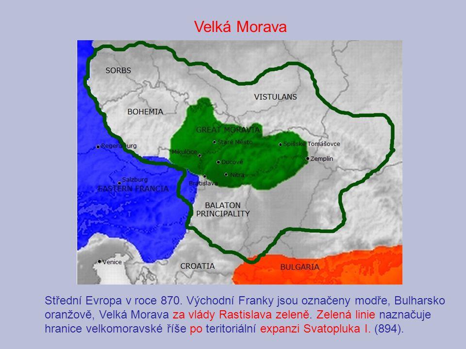 Střední Evropa v roce 870. Východní Franky jsou označeny modře, Bulharsko oranžově, Velká Morava za vlády Rastislava zeleně. Zelená linie naznačuje hr