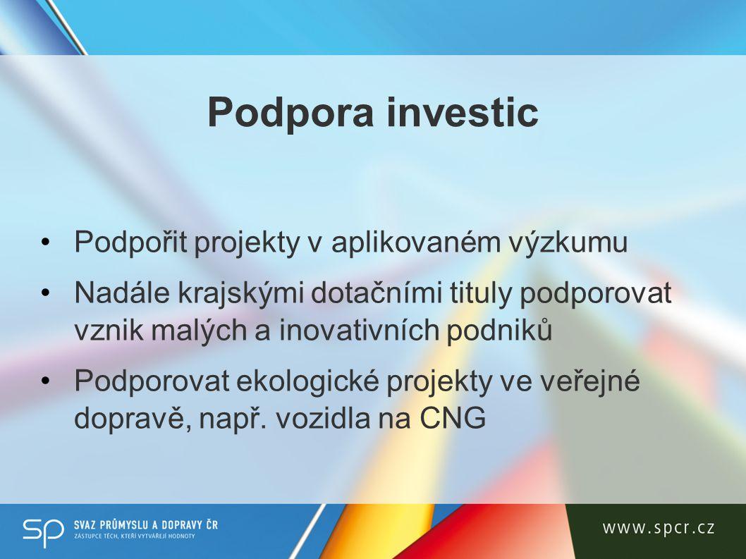 Podpora investic Podpořit projekty v aplikovaném výzkumu Nadále krajskými dotačními tituly podporovat vznik malých a inovativních podniků Podporovat ekologické projekty ve veřejné dopravě, např.