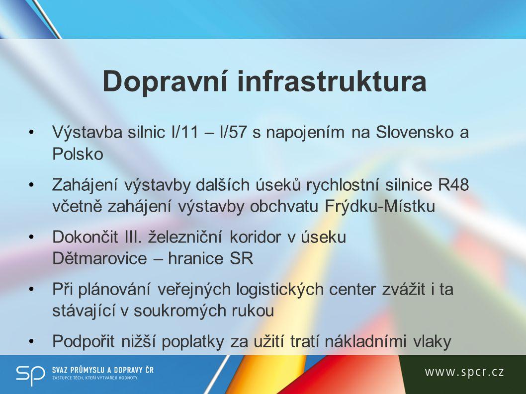 Dopravní infrastruktura Výstavba silnic I/11 – I/57 s napojením na Slovensko a Polsko Zahájení výstavby dalších úseků rychlostní silnice R48 včetně zahájení výstavby obchvatu Frýdku-Místku Dokončit III.