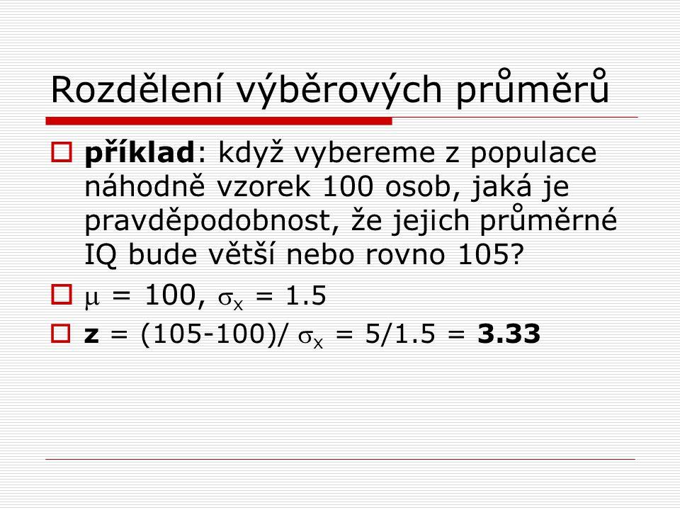  příklad: když vybereme z populace náhodně vzorek 100 osob, jaká je pravděpodobnost, že jejich průměrné IQ bude větší nebo rovno 105?   = 100,  x