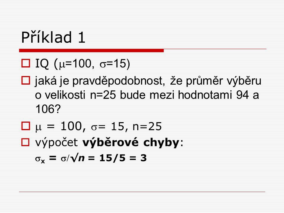 Příklad 1  IQ ( =100,  =15)  jaká je pravděpodobnost, že průměr výběru o velikosti n=25 bude mezi hodnotami 94 a 106?   = 100, = 15, n=25  výp